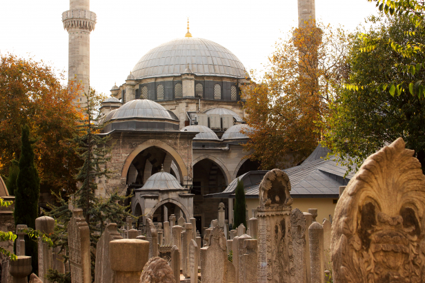 Eyüp Mosque with graves in fore