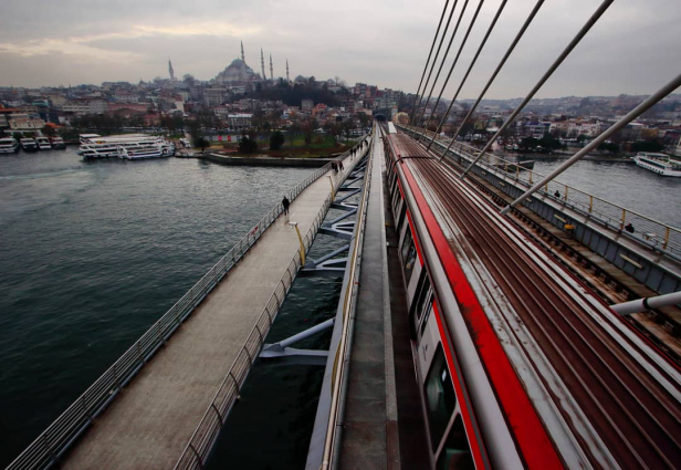 Haliç Golden Horn Metro Bridge Above view