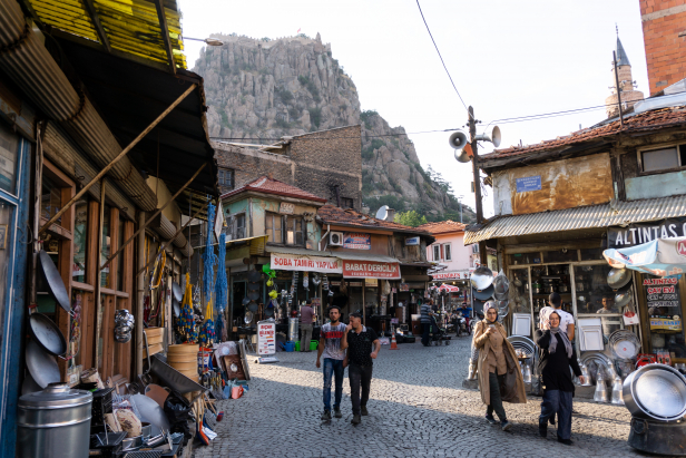 Afyon old city streets with Castle